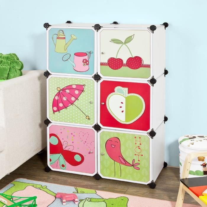 armoire tag re de rangement modulable plastique penderie biblioth que imprim pour enfant. Black Bedroom Furniture Sets. Home Design Ideas