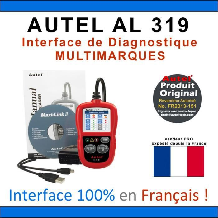 interface diagnostique auto multimarques autel autolink al319 obd2 vag com achat vente. Black Bedroom Furniture Sets. Home Design Ideas