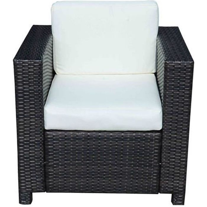fauteuil canape salon de jardin resine rotin tresse brun 1 place 47 achat vente fauteuil. Black Bedroom Furniture Sets. Home Design Ideas