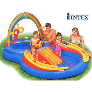 Aire de jeux gonflable intex rainbow toboggan achat for Toboggan intex piscine