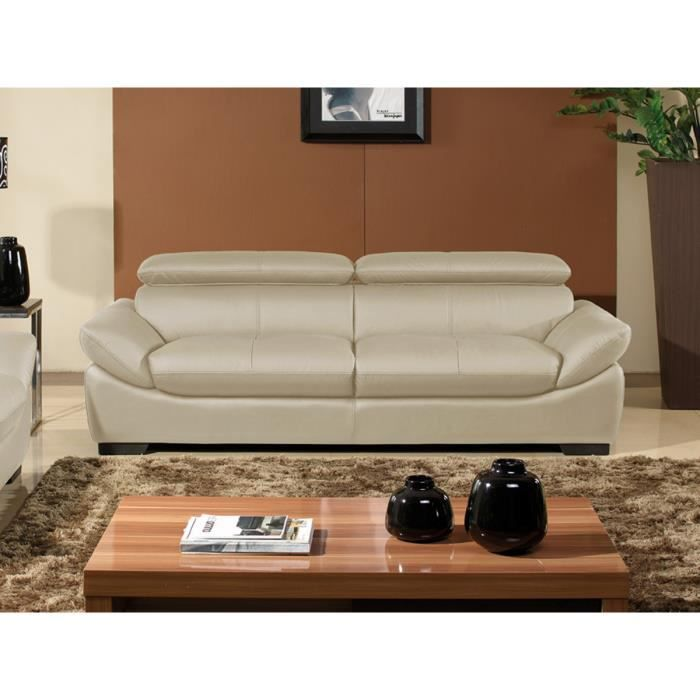 canap 3 places cuir beige design borneo achat vente canap sofa divan cuir. Black Bedroom Furniture Sets. Home Design Ideas
