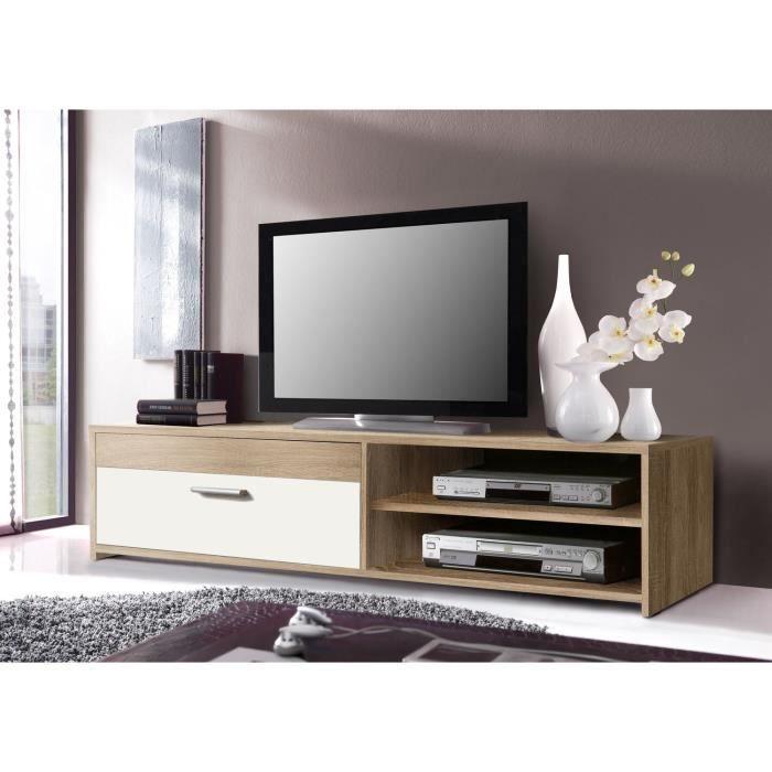 PILVI Meuble TV 120 cm chêne/blanc