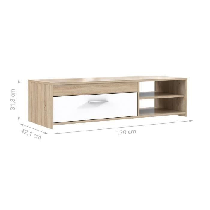 finlandek meuble tv katso d cor ch ne sonoma et blanc brillant l 120 cm achat vente meuble. Black Bedroom Furniture Sets. Home Design Ideas