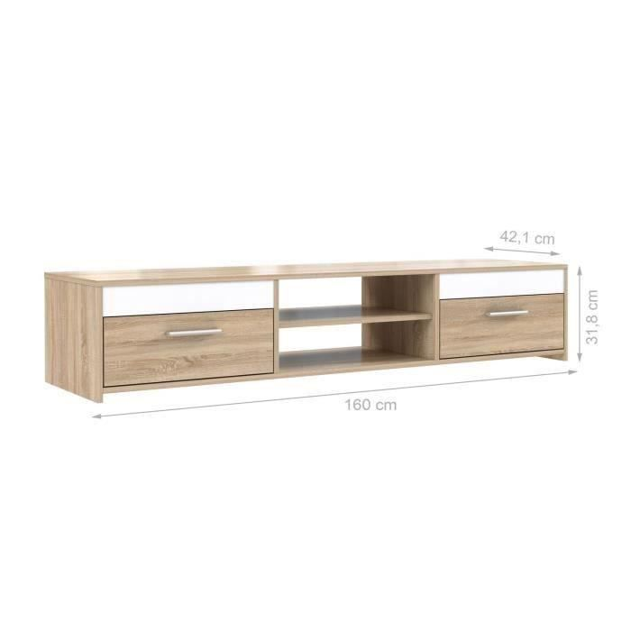 meuble tv 120cmm chene blanc. Black Bedroom Furniture Sets. Home Design Ideas