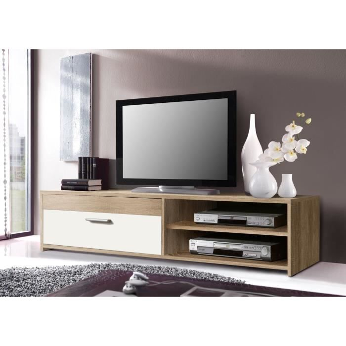 paco meuble tv 120 cm ch ne blanc achat vente meuble tv paco meuble tv 120 cm bois agglom r. Black Bedroom Furniture Sets. Home Design Ideas