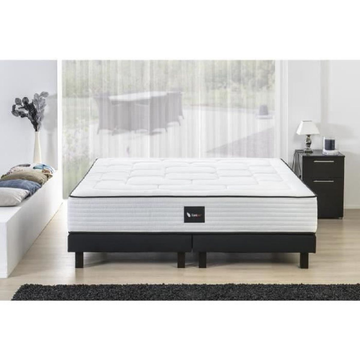 deko dream ensemble matelas sommier bois massif 180 x 200 800 ressorts ensach s ferme. Black Bedroom Furniture Sets. Home Design Ideas