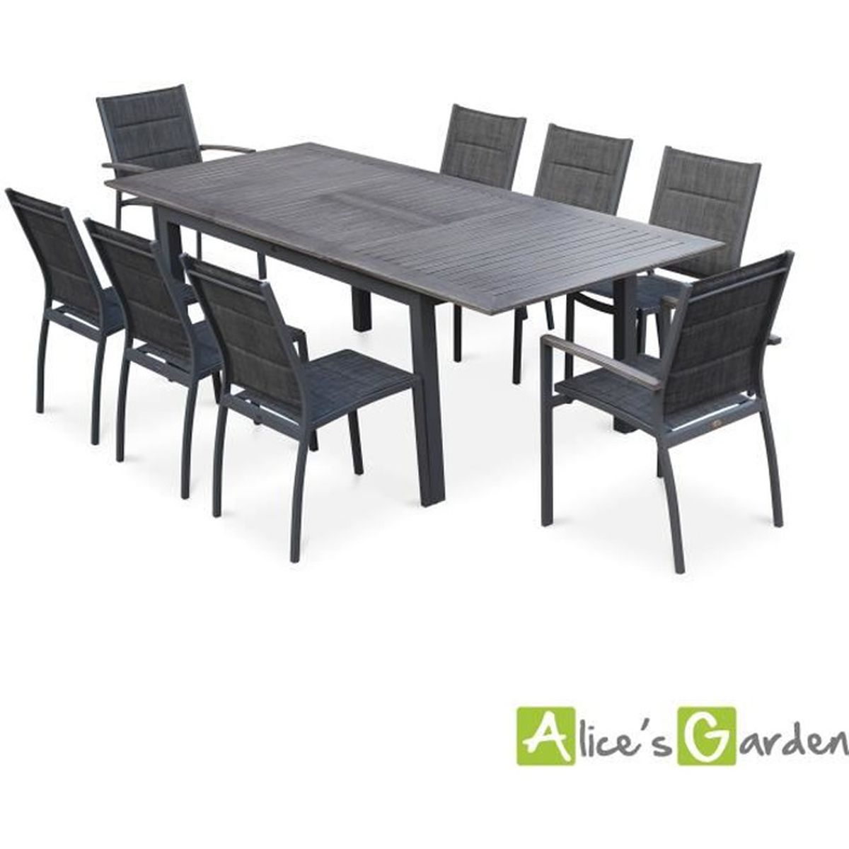 Salon de jardin 8 places table rallonge extensible 175 for Table jardin 8 personnes