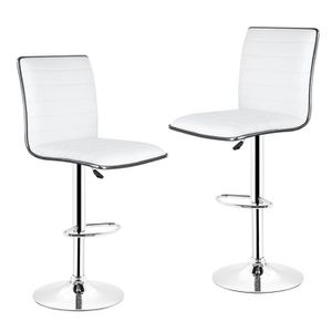 TABOURET DE BAR TABOURET DE BAR,LOT DE 2 -Chaise de bar PU BLANC