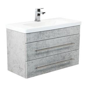 MEUBLE VASQUE - PLAN Meuble salle de bain Mars 800 SlimLine Aspect Béto