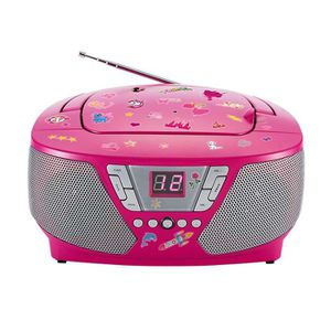 RADIO CD CASSETTE Lecteur radio cd portable Rose + Stickers
