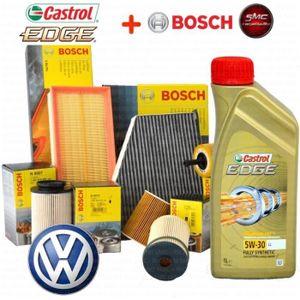 HUILE MOTEUR KIT VIDANGE CASTROL EDGE 5W30 + 4 FILTRES BOSCH VW