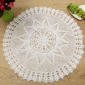 NAPPE DE TABLE TEMPSA 55cm Napperon Rond Dentelle Crochet Fait Ma