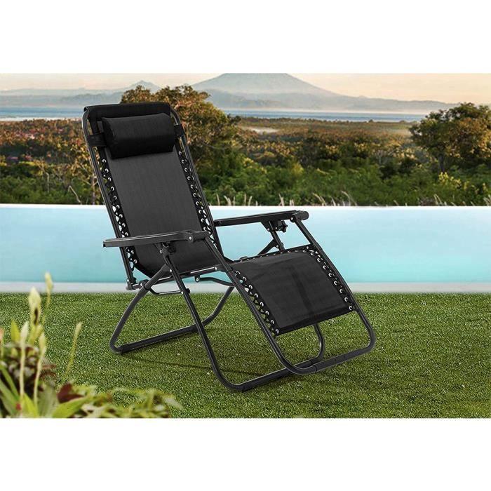 Lot de 2 Chaises de Jardin inclinable fauteuils relax pliants Chaise Longue pour l'Extérieur, Structure en acier, Noir