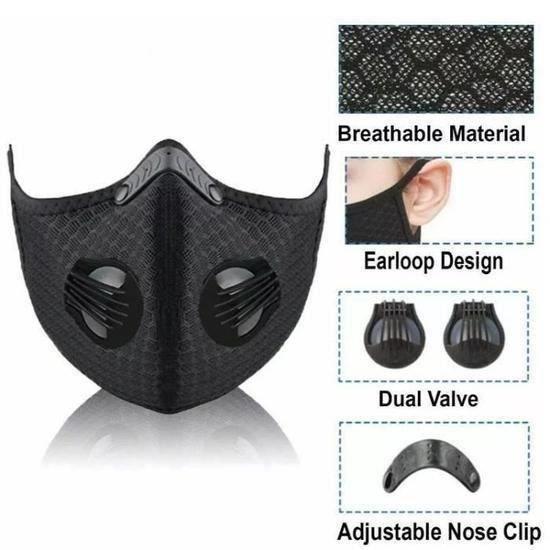 6pcs Masque de Sport ajustable avec valves, anti-pollution, incluant 60 filtres