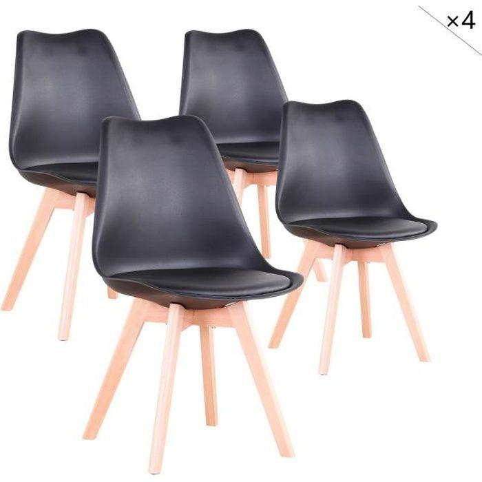 Lot de 4 Chaises de salle à Manger Design Scandinave en Plastique Chaise en cuir Synthétique à Manger(Noir)