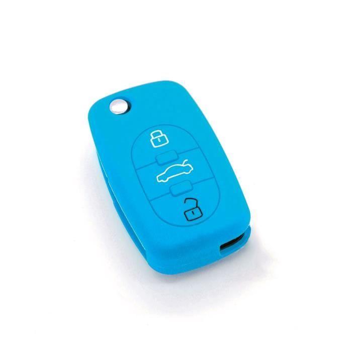 housse de clé en silicone pour Audi A1 A3 A4 A5 A6 A8 TT Q7 3 boutons. Bleu clair