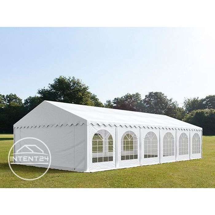 TOOLPORT Barnum 5x12 m, tonnelle chapiteau tente de réception, PVC 500g/m², H. 2 m, blanc