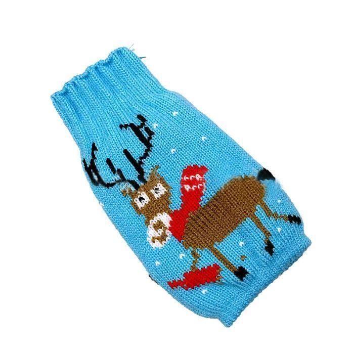XY Sac de Decoration Bouteille de Vin Costume de Renne Xmas Emballage Cadeau Noel Decor Table Ornement Bleu - XYTS823A2268