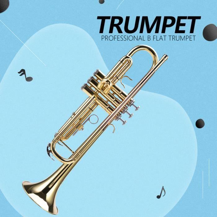 Trompette en Sib LADE Professional Bb Flat Brass Trompette Instrument Set Accessory (Gold) YAN