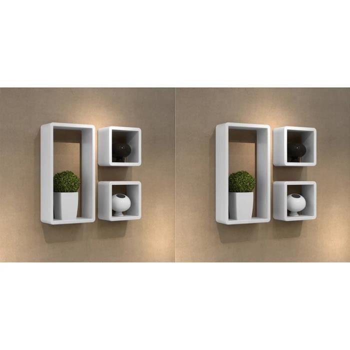 ETO-Étagères murales sous forme de cube 6 pcs Blanc avec finition laquée