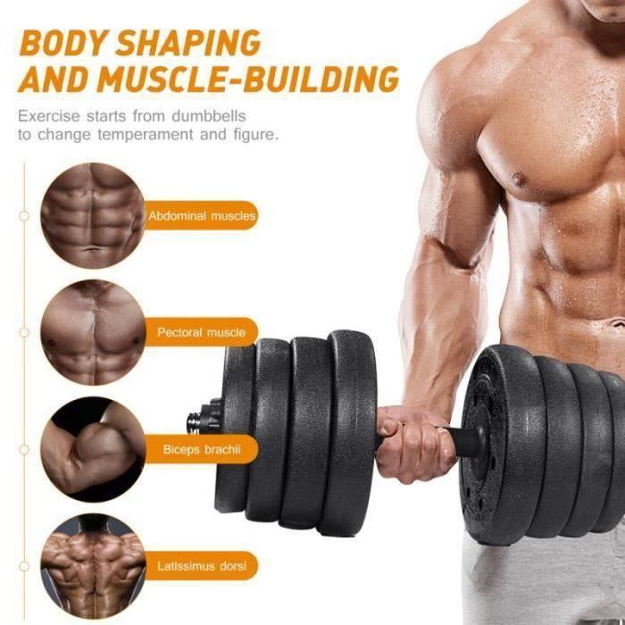 Ensemble d'haltères 30 kg musculation réglable