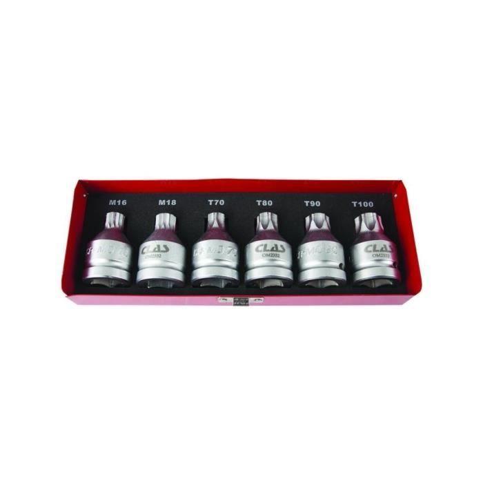 COFFRET DOUILLES EMBOUTS PL 3/4 XZN 16-18 TORX T70-T80-T90-T100