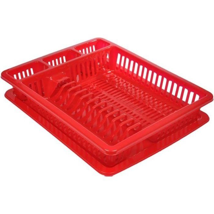 Egouttoir à vaisselle avec plateau Rouge