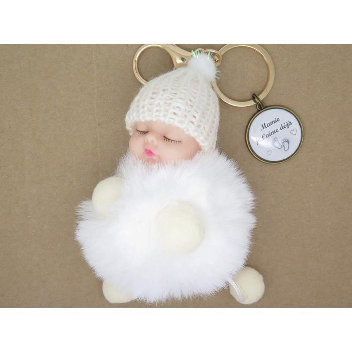 Portes Clés Personnalisable ou Bijou de Sac Cadeau Original pour Annonce Grossesse Mamie Tante avec Figurine Bébé