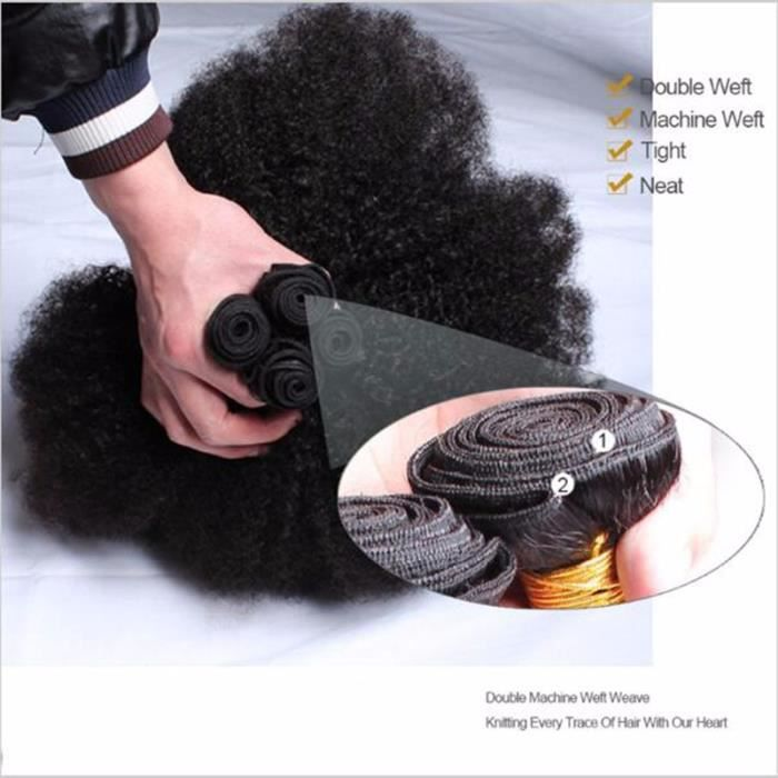 """100g-PIÈCES 4 tissage Indienne Afro kinky curly cheveux humain hair 34""""34""""34""""34"""" POUCES"""