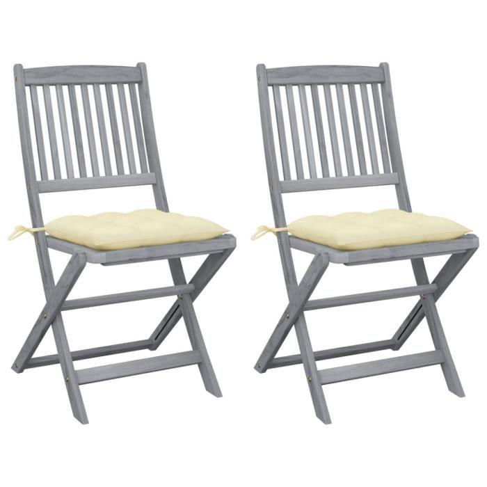 BEL Chaises pliables d'extérieur 2 pcs avec coussins Bois d'acacia # 2