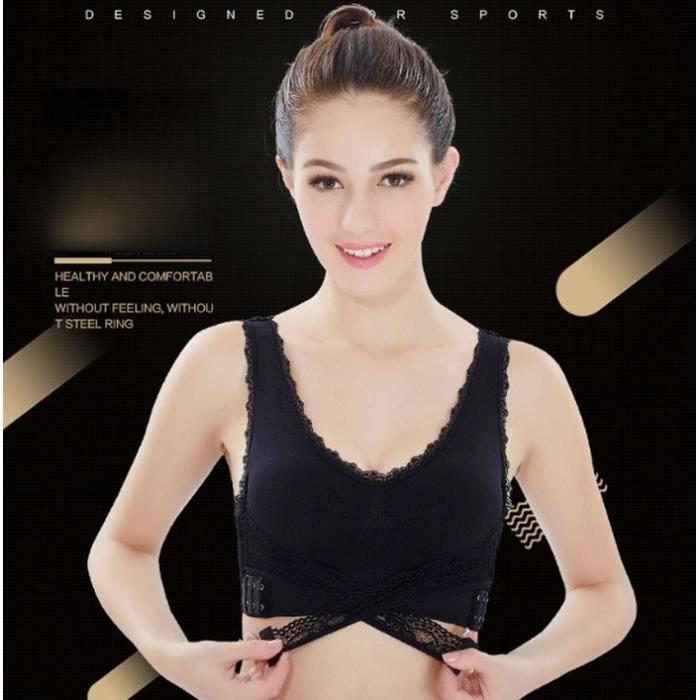 Femme Soutien-gorge de Sport Brassière Sous-vêtement sans dentelle Noir