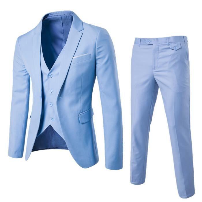 Veste Homme Veste décontracté Veste Trois pièces Veste Hommes Vêtement Masculin (Veste+Pantalon+Gilet)