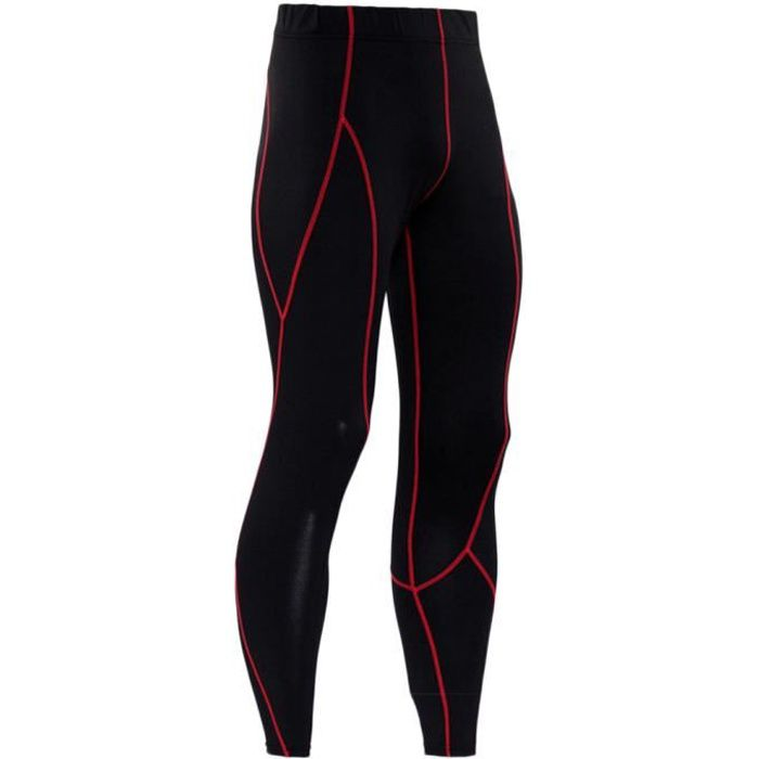Legging Sport Homme Collant Running Fitness Pantalon De Compression Slim Fit Respirant Rouge 2XL