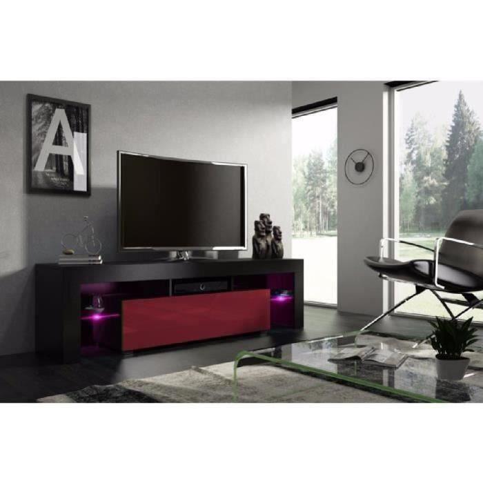 Meuble tv 160 cm noir mat et bordeaux laqué avec led RGB