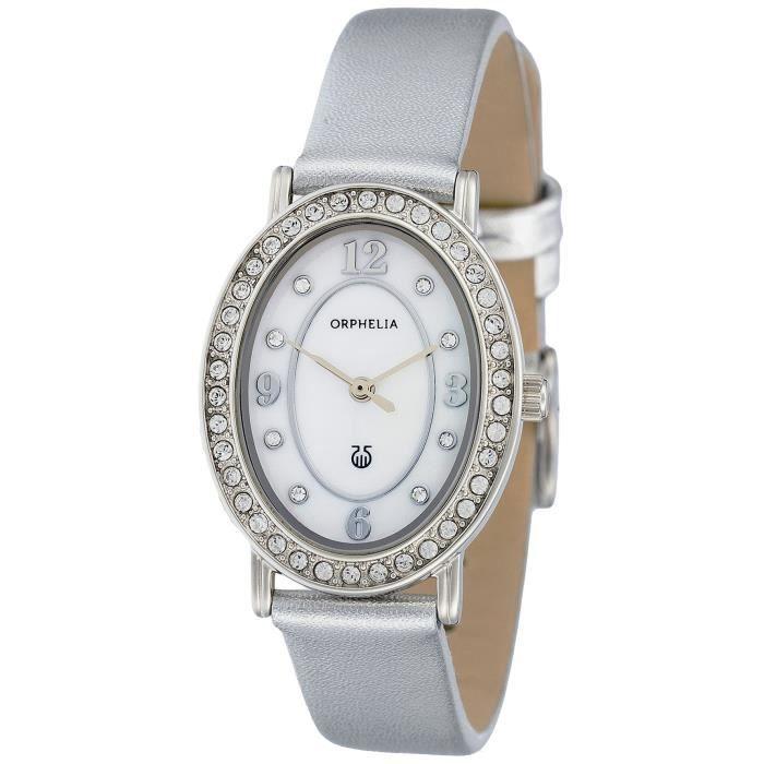ORPHELIA - Montre Femme - Quartz Analogique - Bracelet Cuir Argent - 122-1713-18