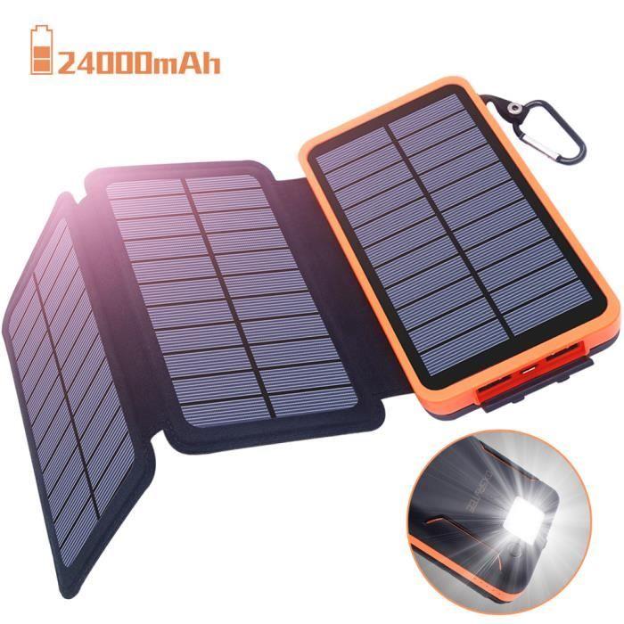 Chargeur Solaire 24000Mah, Batterie Externe Oxsaytee Power Bnak avec 3 Panneaux Solaire Charge Rapide Usb 2.1A avec Led pour Iphone,