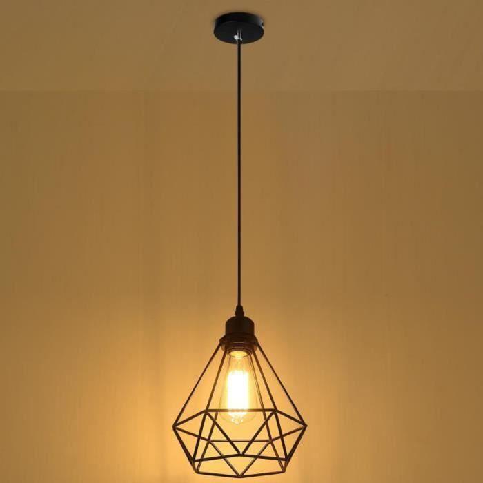 Lustre Suspension Industrielle forme Diamant Cage Lampe de Plafond Métal Luminaire Abat-Jour Style Vintage, Noir