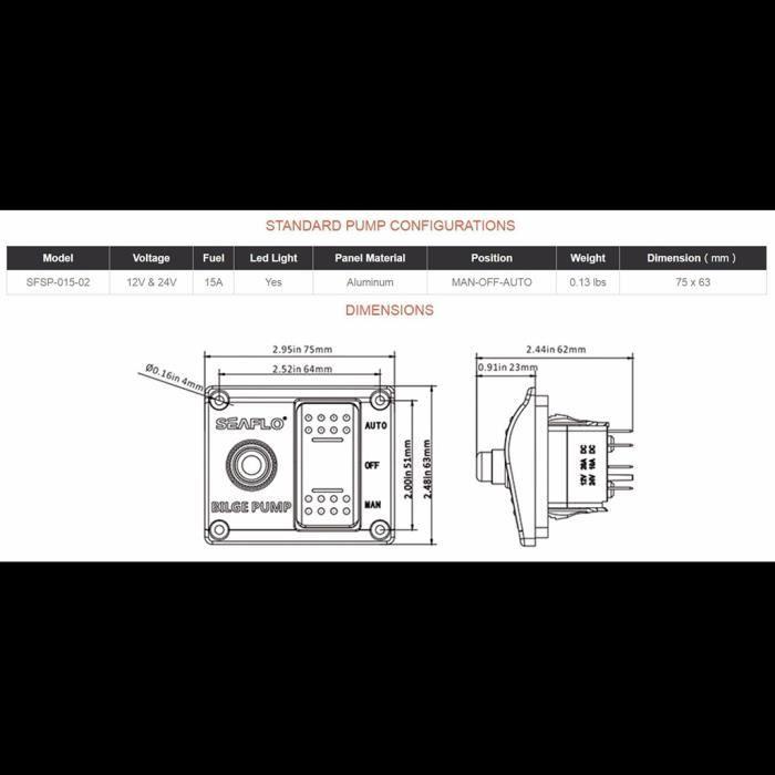 BARQUE DE PECHE - PIECES DETACHEES 1 pièce panneau de commutateur de pompe de cale