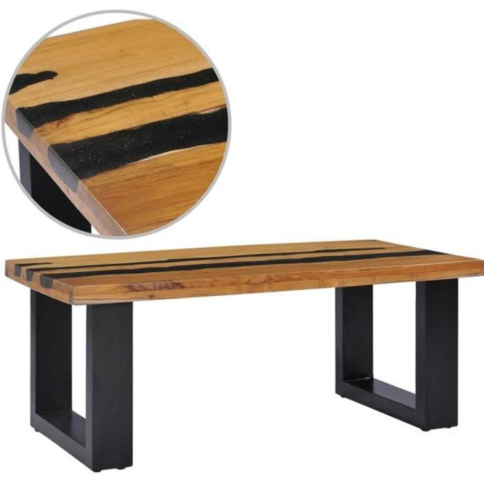vidaXL Table basse 100x50x40 cm Bois de teck massif et pierre de lave