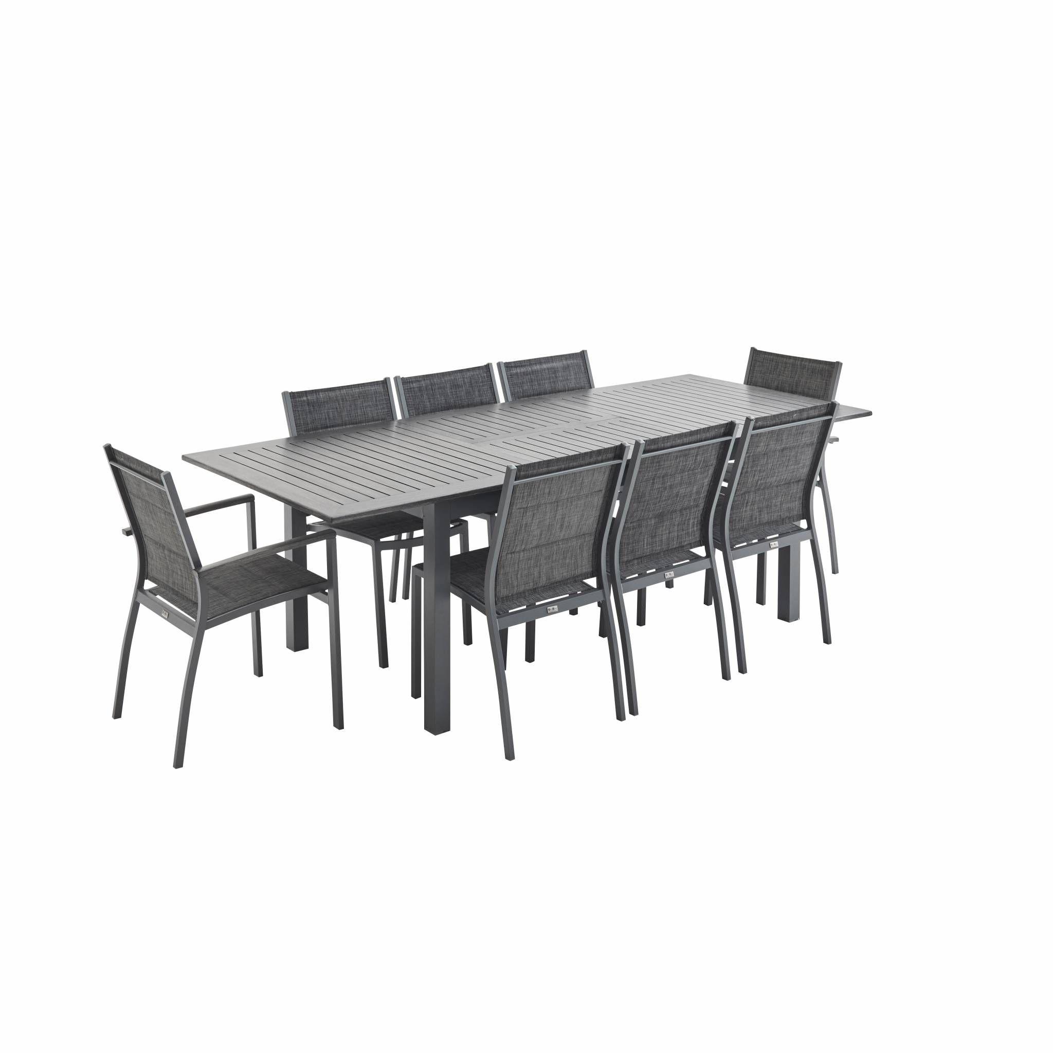 Ensemble table et chaise de jardin Salon de jardin 8 places table à rallonge extensib