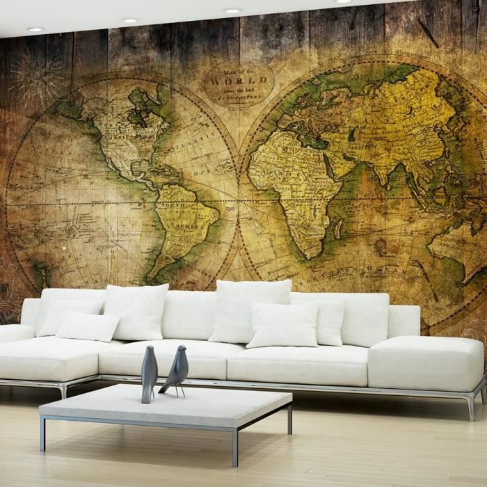 papier peint mappemonde old world achat vente objet d coration murale cdiscount. Black Bedroom Furniture Sets. Home Design Ideas