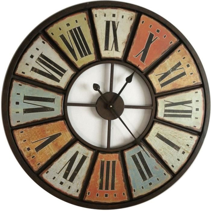 horloge vintage multicolore en m tal 75cm achat vente horloge cdiscount. Black Bedroom Furniture Sets. Home Design Ideas