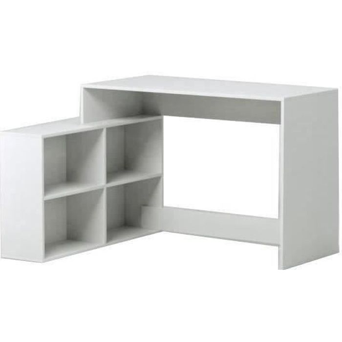 nagano bureau d 39 angle contemporain blanc l 100 cm achat vente bureau nagano bureau d 39 angle. Black Bedroom Furniture Sets. Home Design Ideas