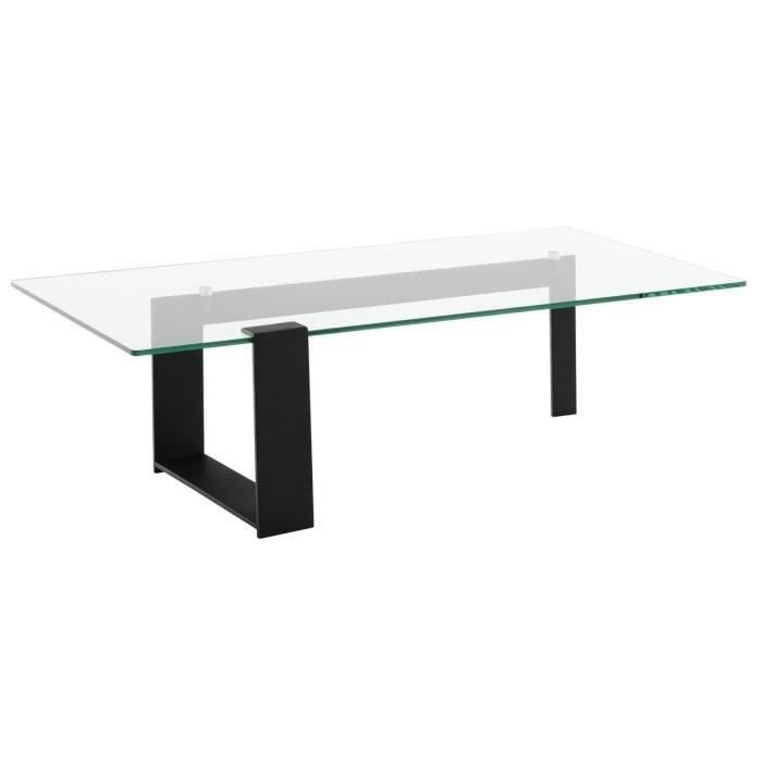Gaia table basse 120cm plateau en verre tremp noir achat vente table - Plateau de table en verre trempe ...
