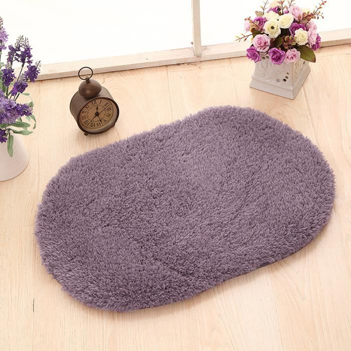 antid rapant tapis de salle de bain en peluche souple 80x120 cm gris violet achat vente. Black Bedroom Furniture Sets. Home Design Ideas
