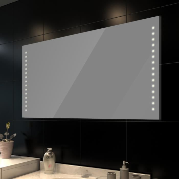 miroir de salle de bain avec clairage led 100 x 60 cm. Black Bedroom Furniture Sets. Home Design Ideas