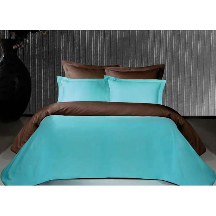 housse de couette bicolore chocolat et turquoise satin de. Black Bedroom Furniture Sets. Home Design Ideas