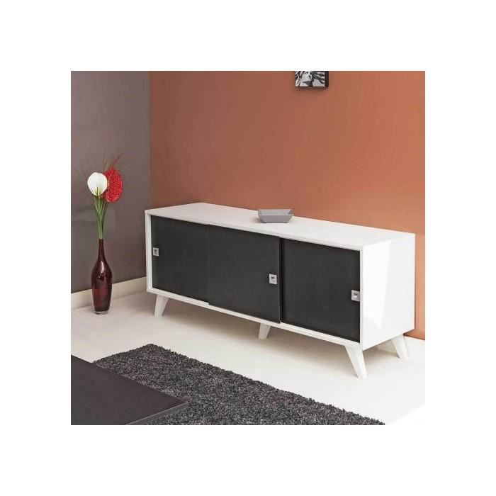 buffet 3 portes coulissantes pieds inclines blanc noir achat vente buffet bahut buffet 3. Black Bedroom Furniture Sets. Home Design Ideas