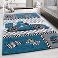Tapis enfants pour chambre d\'enfant, chambre bébé, tapis de jeu Race Car F1  Design, Multi Couleurs Bleu Gris Noir Blanc 0460 [80 cm