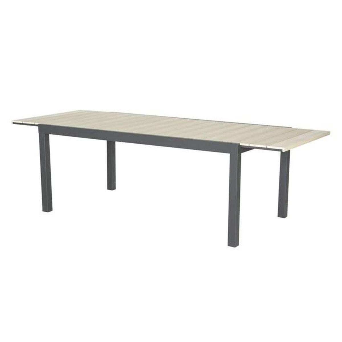 Gilles Table de jardin extensible en bois composite et alu ...